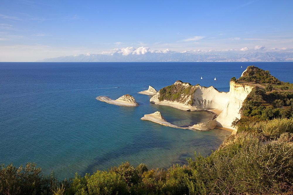 Sailing boats at Cape Drastis, near Peroulades, Sidari, Corfu island, Ionian islands, Greece