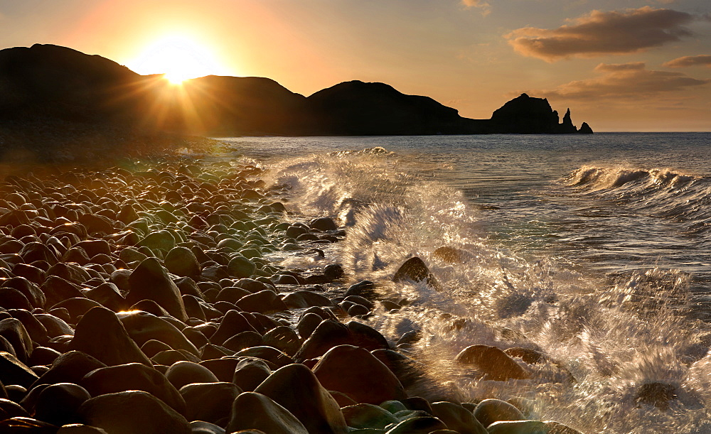 Valugan Chadpidan Boulder Beach at sunset, Batanes, Batan Island, Batanes, Philippines, Asia
