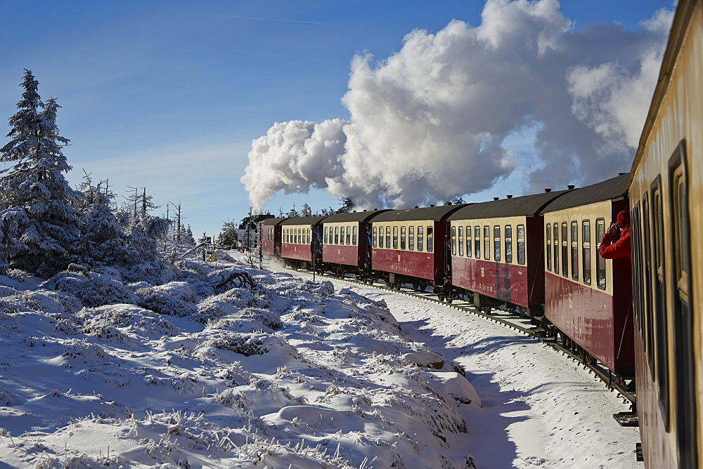 Brocken steam train to Brocken, Harz, Saxony-Anhalt, Germany