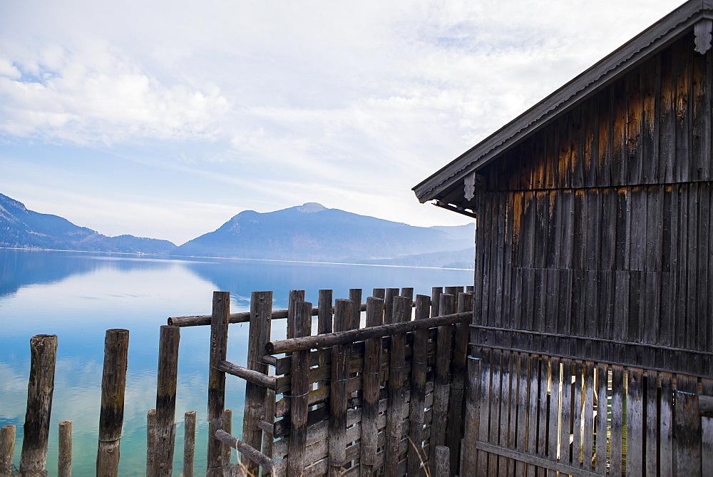 Boathouse at Lake Walchensee in the morning mood, Lake Walchensee, Alps, Bavaria, Germany