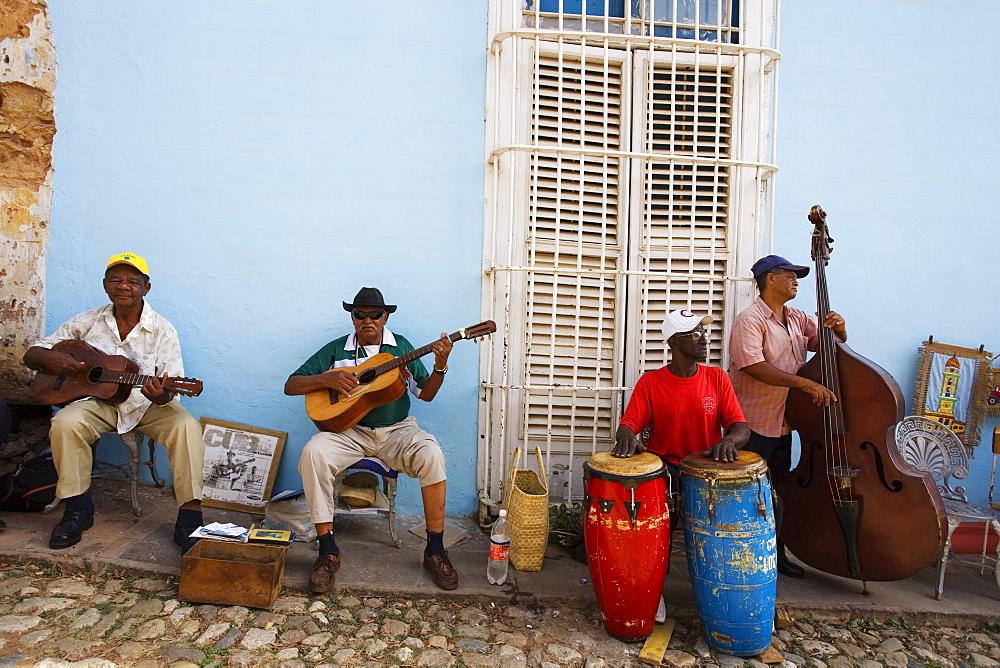 Son Band playing on street, Trinidad, Sancti Spiritus, Cuba, West Indies