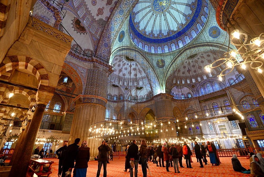 Inside the Sultan Ahmed Mosque, Istanbul, Turkey