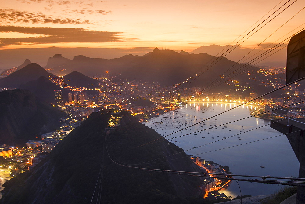 View from Sugarloaf Mountain at sunset, Rio de Janeiro, Brazil, South America