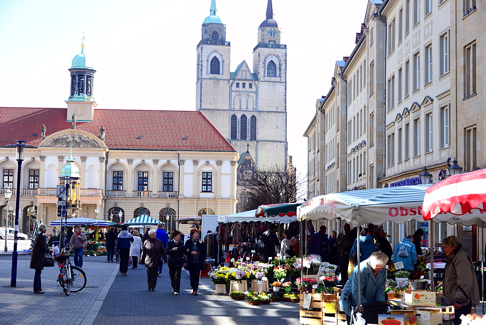 Market square at the old town hall with church, Johanniskirche, Magdeburg, Saxony-Anhalt, Germany