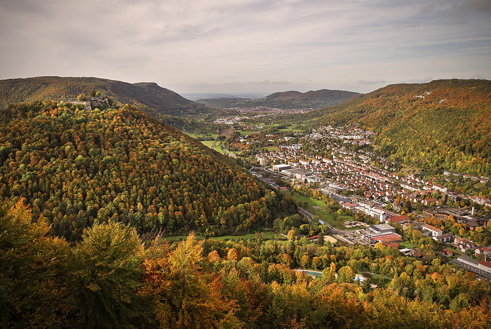 View to Bad Urach and ruin, Swabian Alp, Baden-Wuerttemberg, Germany