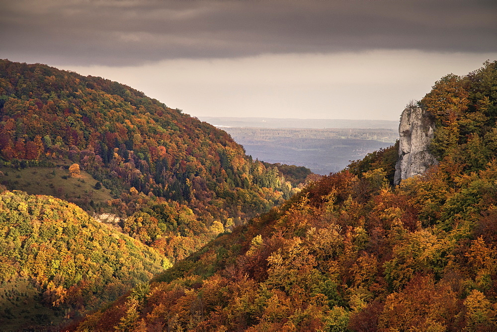 Surrounding view of Lichtenstein castle in autumn, Swabian Alp, Baden-Wuerttemberg, Germany
