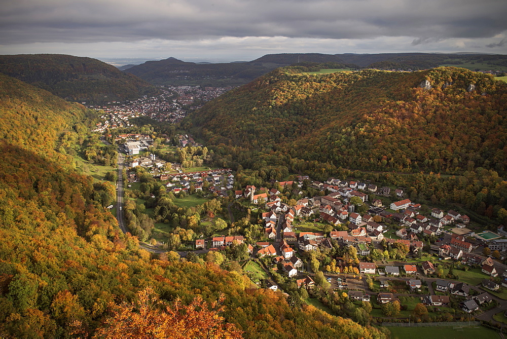 View from Lichtenstein castle in autumn, Swabian Alp, Baden-Wuerttemberg, Germany