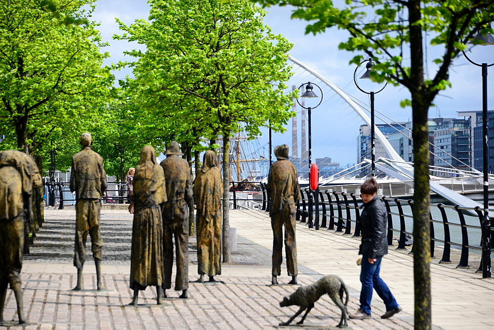 The Famine Statues at the Liffey River, Docklands, Dublin, Ireland