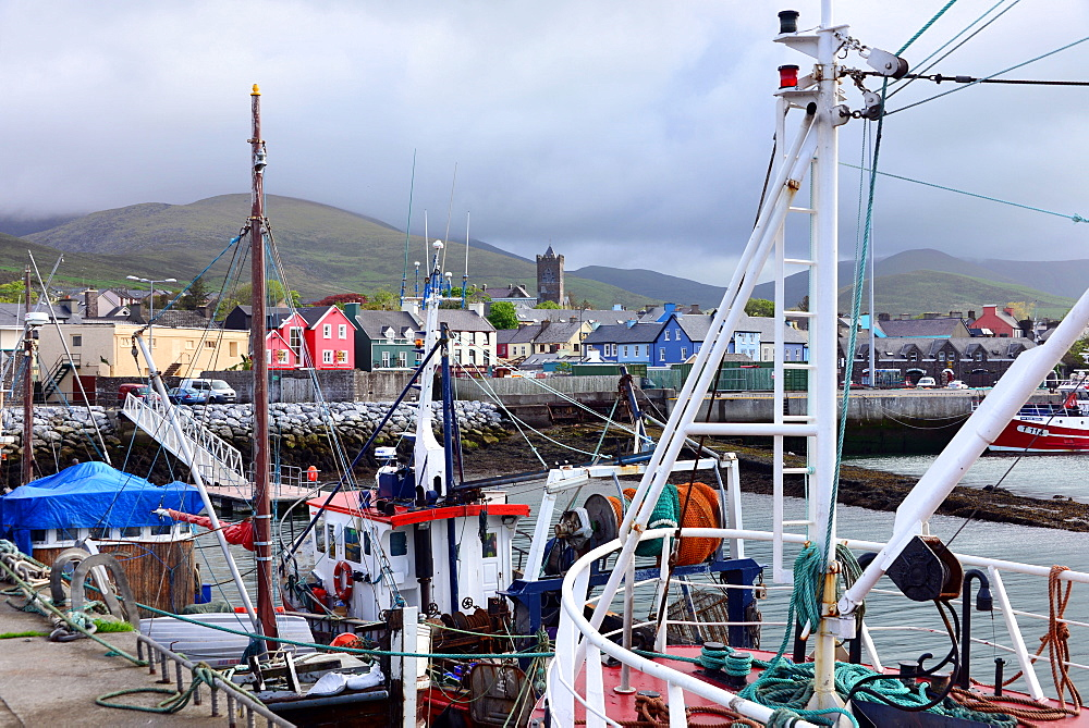 Fishing boats in Dingle harbour, Dingle peninsula, Kerry, West coast, Ireland