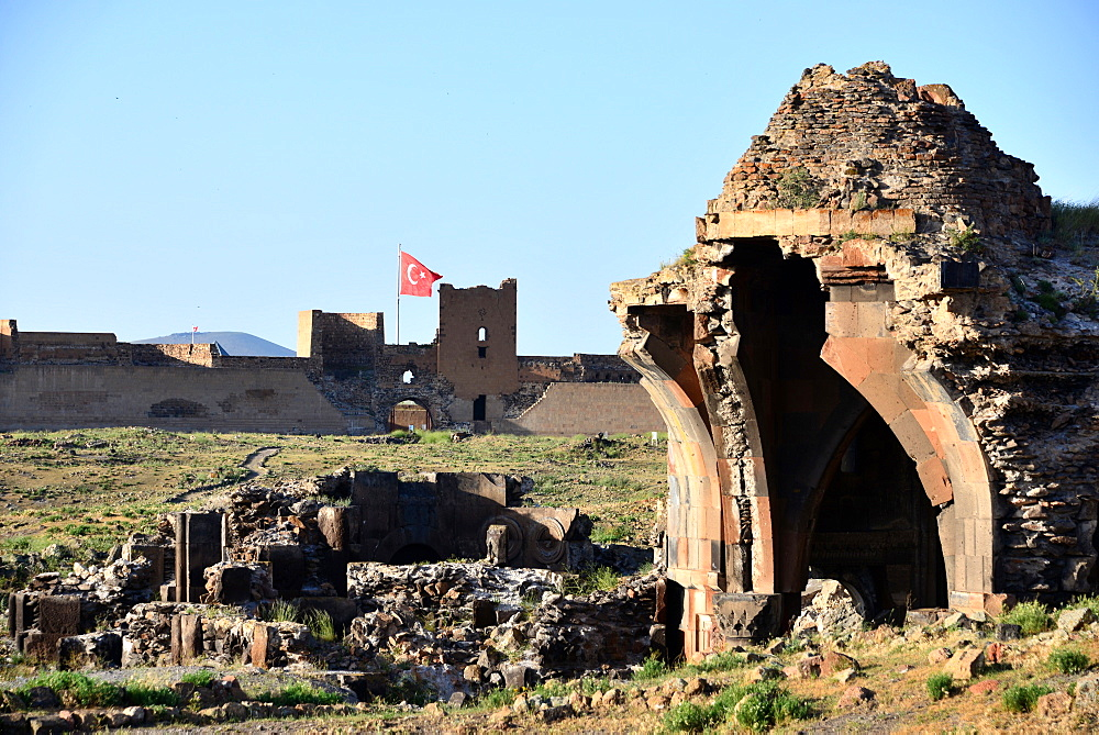 Lions gate in the of area Ani near Kars, Kurd populated area, east Anatolia, East Turkey, Turkey