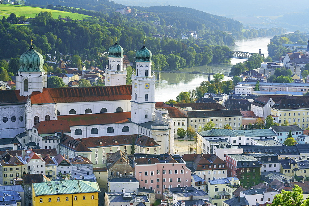 Old town with cathedral of St. Stephen, Passau, Lower Bavaria, Germany
