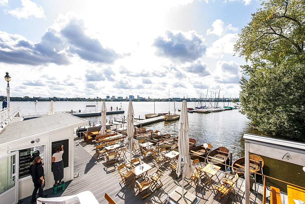 Shipping pier and restaurant at Outer Alster, Hamburg, Germany
