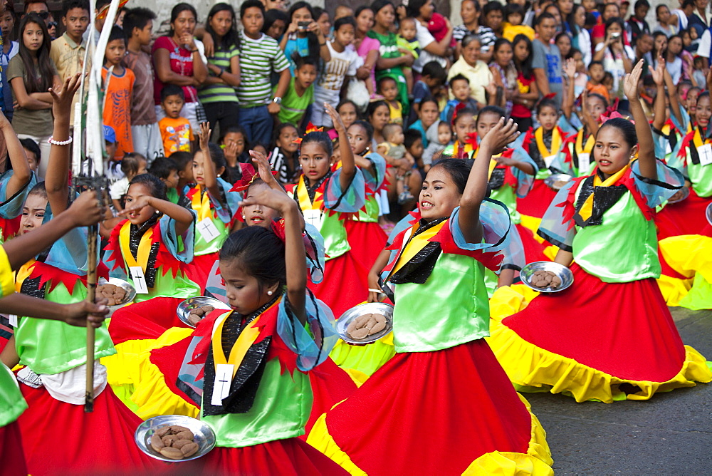 Folklore Dancers in the historical city of Vigan City, UNESCO World Heritage Site, Ilocos Sur province, on the main island Luzon
