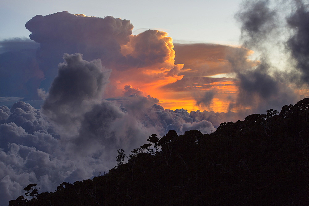 Thunderstorm Clouds over Mount Kinabalu, Borneo, Malaysia.