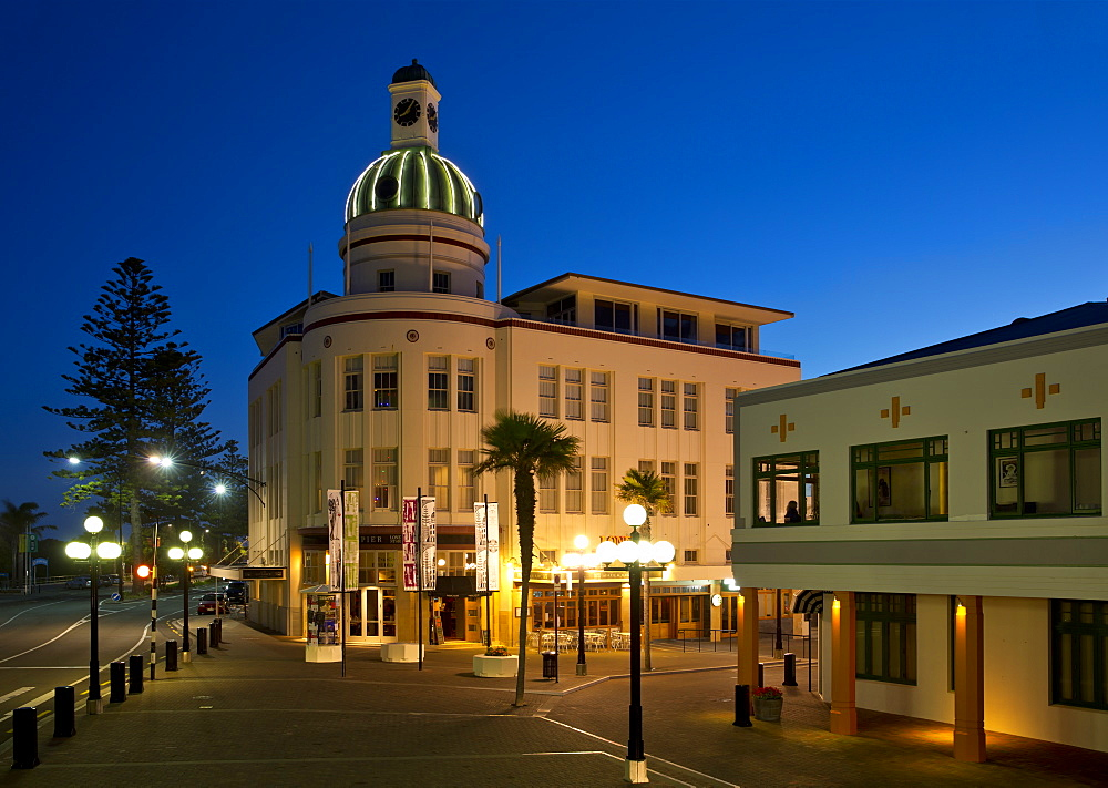 The Dome of the T&G Building in Art Deco design at dusk, Napier, Hawke's Bay, North Island, New Zealand