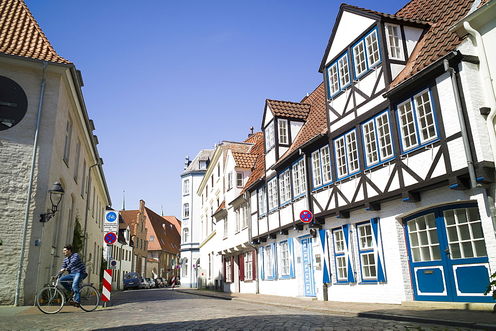Half-timbered houses, historic city, Lubeck, Schleswig-Holstein, Germany