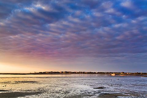 Sunrise over the wadden sea, Amrum Island, North Frisian Islands, Schleswig-Holstein, Germany