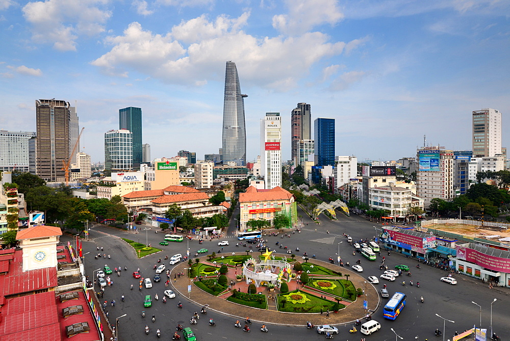 View from the Hotel on Bin Tanh Market towards Saigon, Ho Chi Minh-City, Vietnam