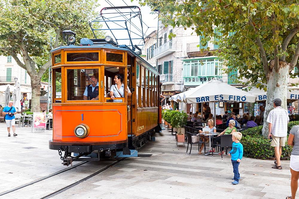 historical tram between Port de Soller and Palma de Mallorca, Soller, Serra de Tramuntana, Majorca, Balearic Islands, Spain, Europe