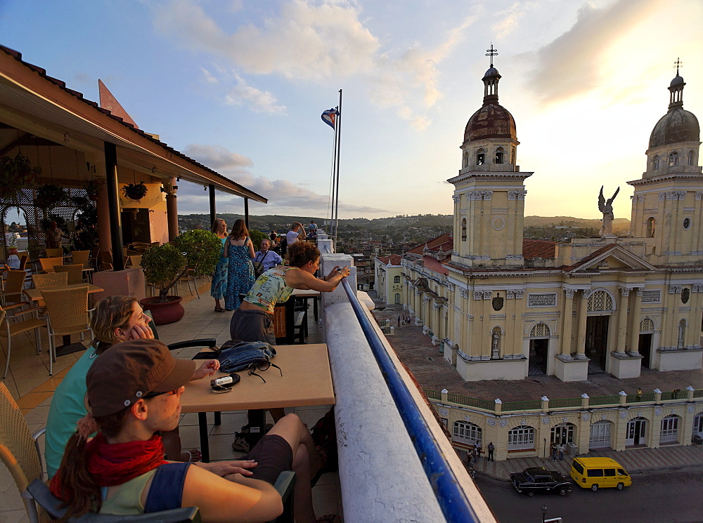 Terrace of Hotel Casa Granda, Catedral de Nuestra Senora de la Asuncion in background, Santiago de Cuba, Santiago de Cuba, Cuba, West Indies