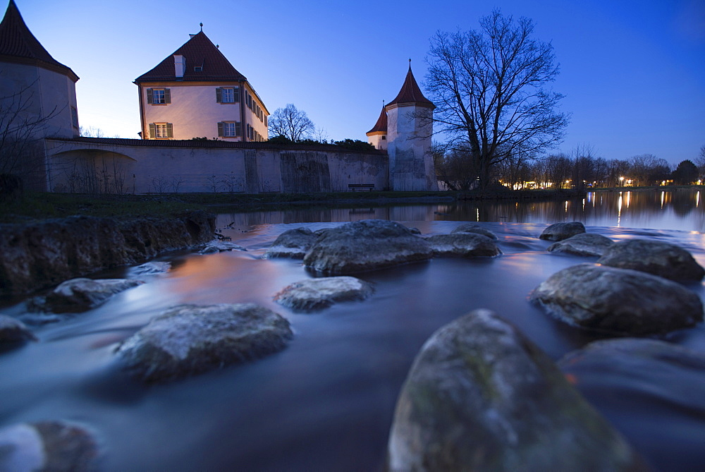 Blutenburg Castle in the blue hour, Obermenzing, Munich, Bavaria, Germany