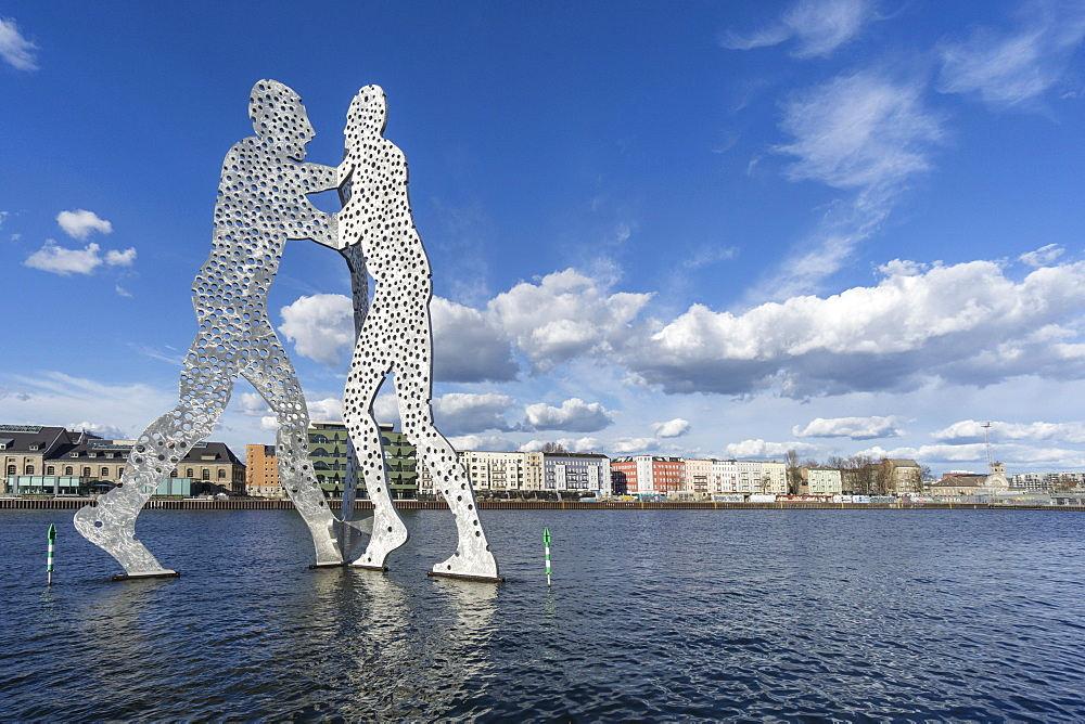 Sculpture of the Molecule Man, from Jonathan Borofsky, River Spree, Clouds, Berlin, Germany