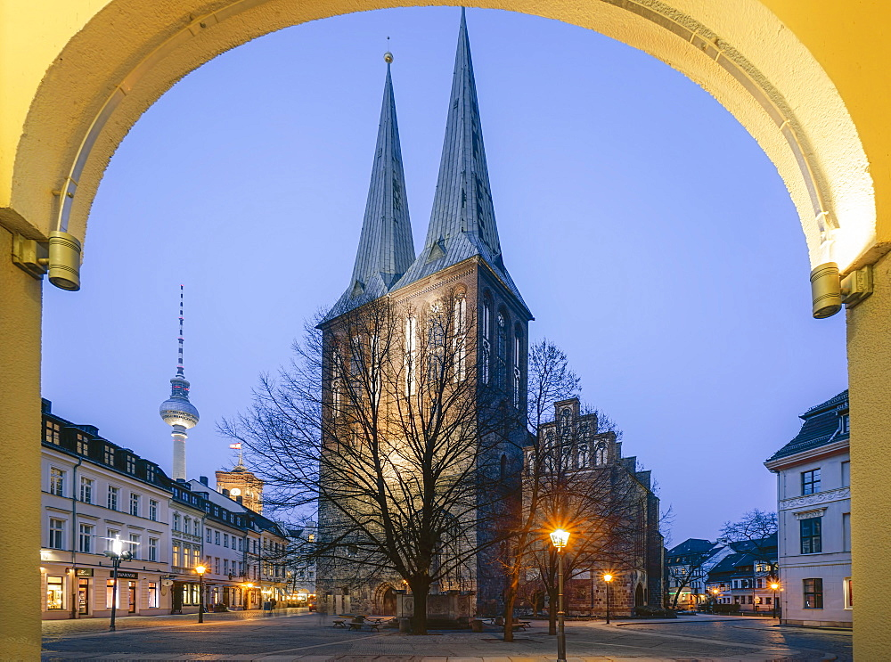 St. Nicholas' Church in the evening, Nikolai District, Berlin, Germany