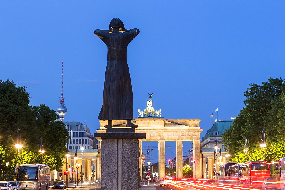 Scultures in front of the Brandenburg Gate, Alex TV Tower, Berlin, Germany