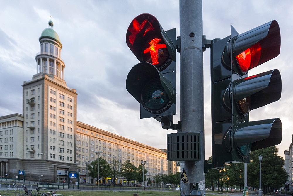 Traffic light showing red man, Frankfurter Tor, Friedrichshain, Berlin, Germany