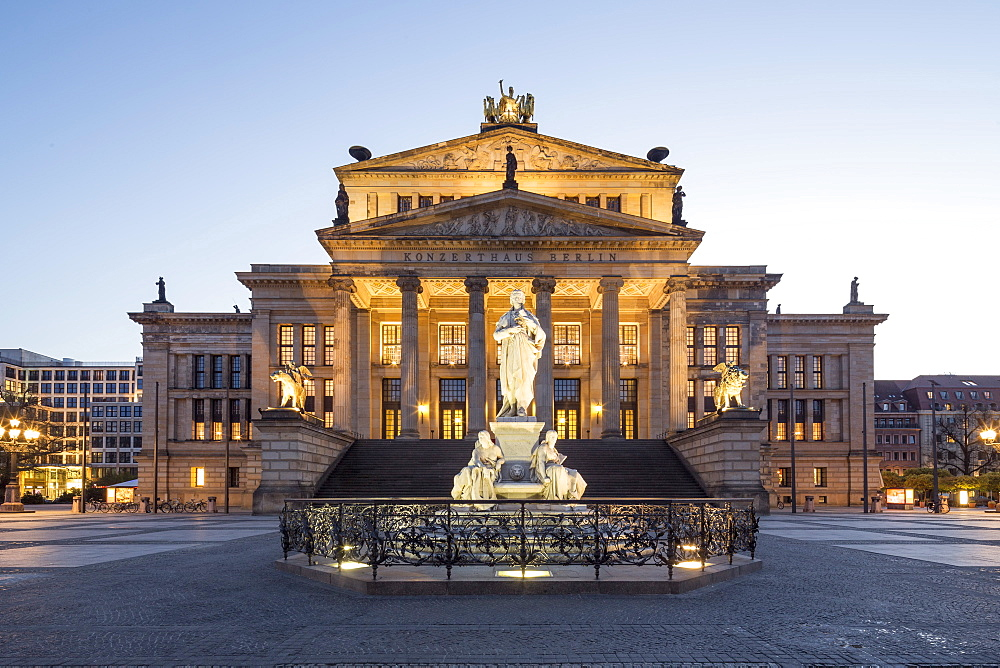 Schiller Statue, with concert hall, Gendarmenmarkt, Berlin, Germany
