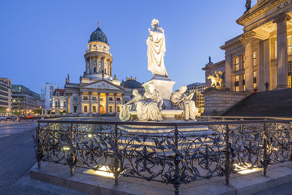 Schiller Statue, with concert hall and French cathedral, Gendarmenmarkt, Berlin, Germany