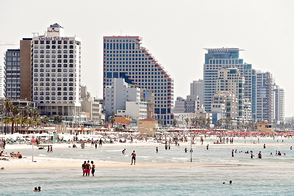 Beach with large hotels, Tel Aviv, Jaffa, Israel