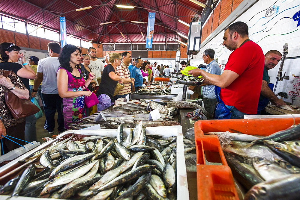 Fish market, market hall, Olhao, Algarve, Portugal