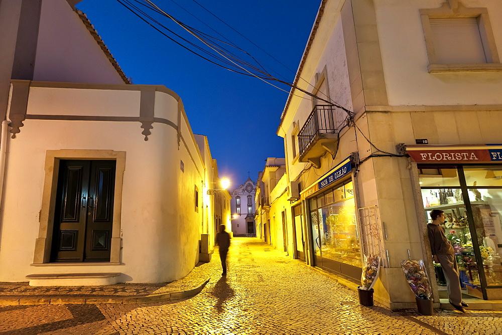 Church Igreja Matiz, old town at dusk, Olhao, Algarve, Portugal