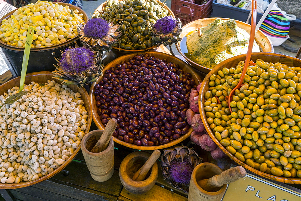 Olives on a market stall in Lourmarin, Provence-Alpes-Cote d'Azur, France