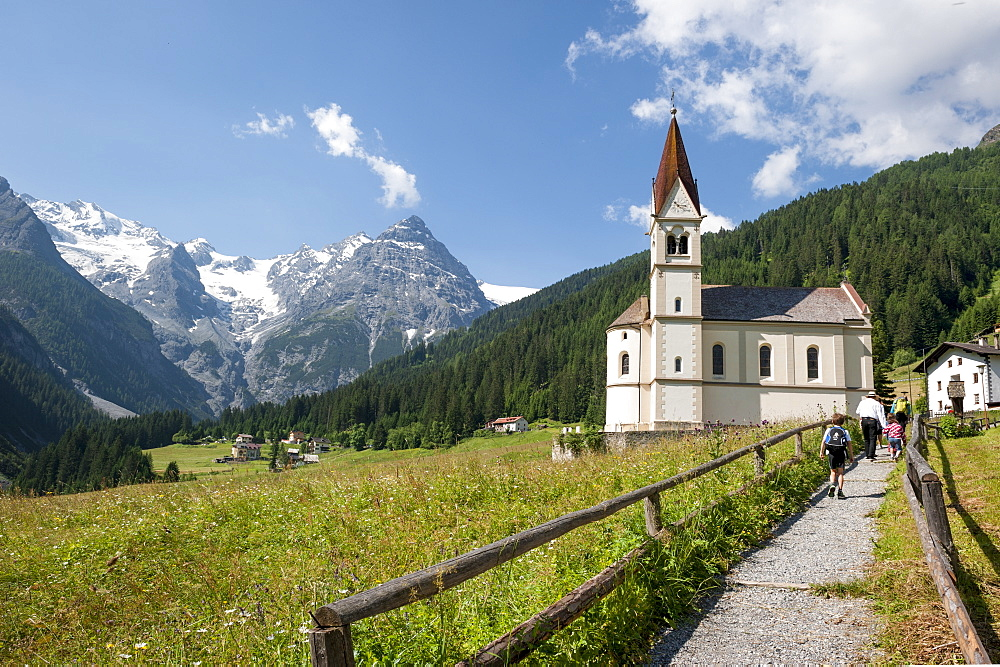 Church with mountain panorama, Ortler, Trafoi, Trentino, Alto Adige, South Tyrol, Italy, Europe