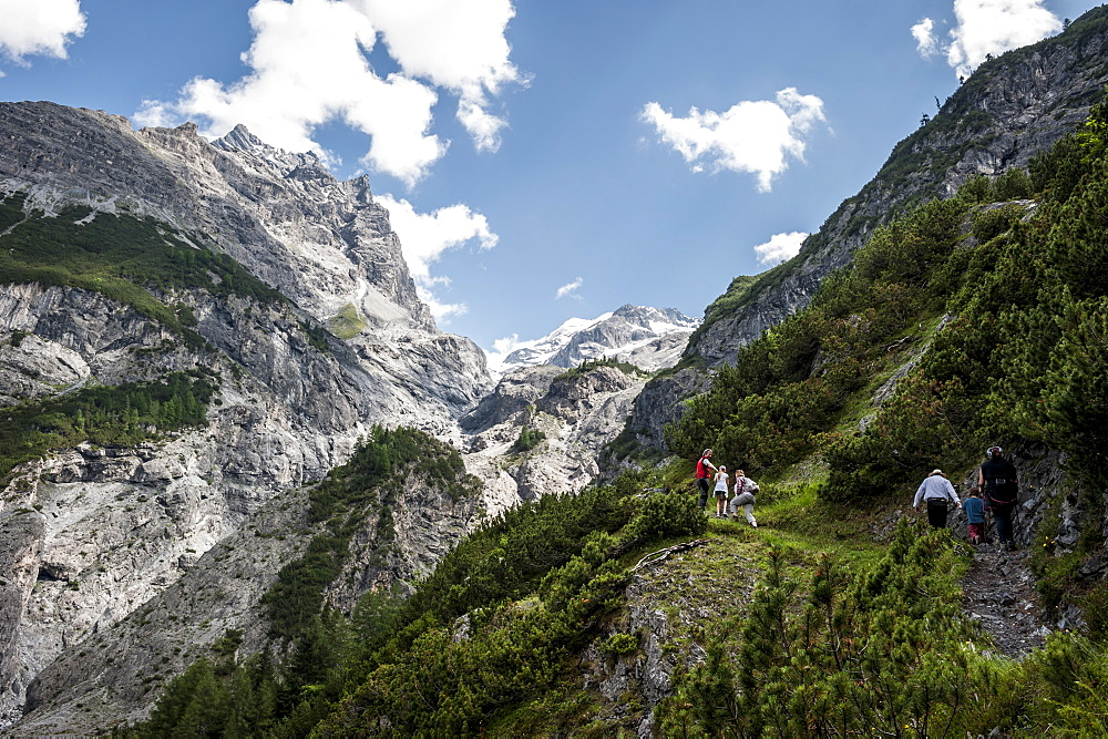 Hikers and mountain landscape, Ortler, alps, Trafoi, Trentino, Alto Adige, South Tyrol, Italy, Europe