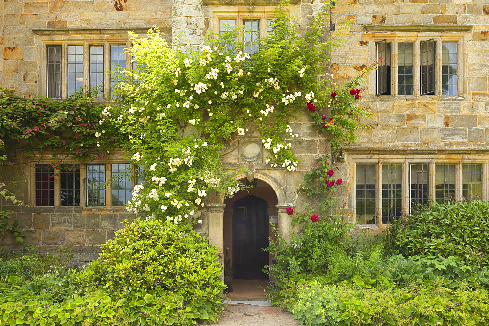 Entrance to the manor house, Bateman's, home of the writer Rudyard Kipling, East Sussex, Great Britain