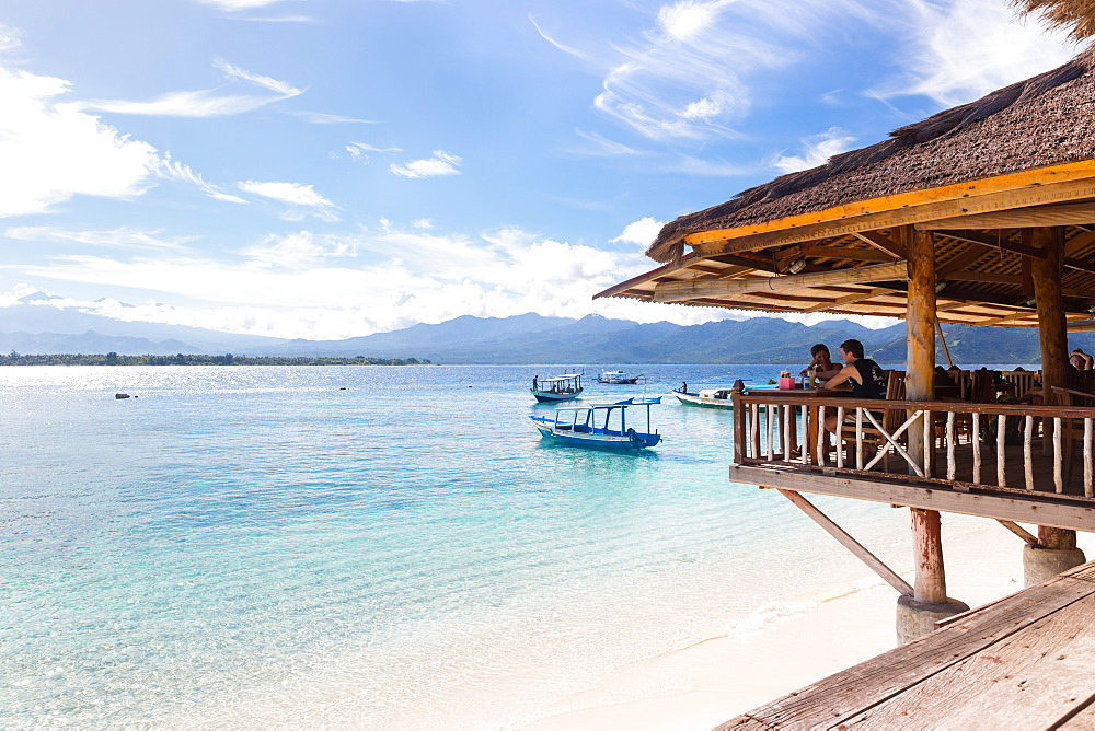 Restaurant at beach, Gili Meno, Lombok, Indonesia