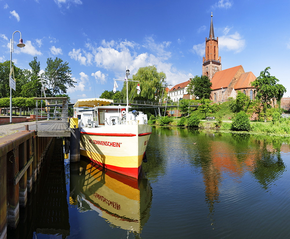old Port at the Havel, Sankt-Marien-Andreas Church on Kirchberg, Rathenow, Brandenburg, Germany