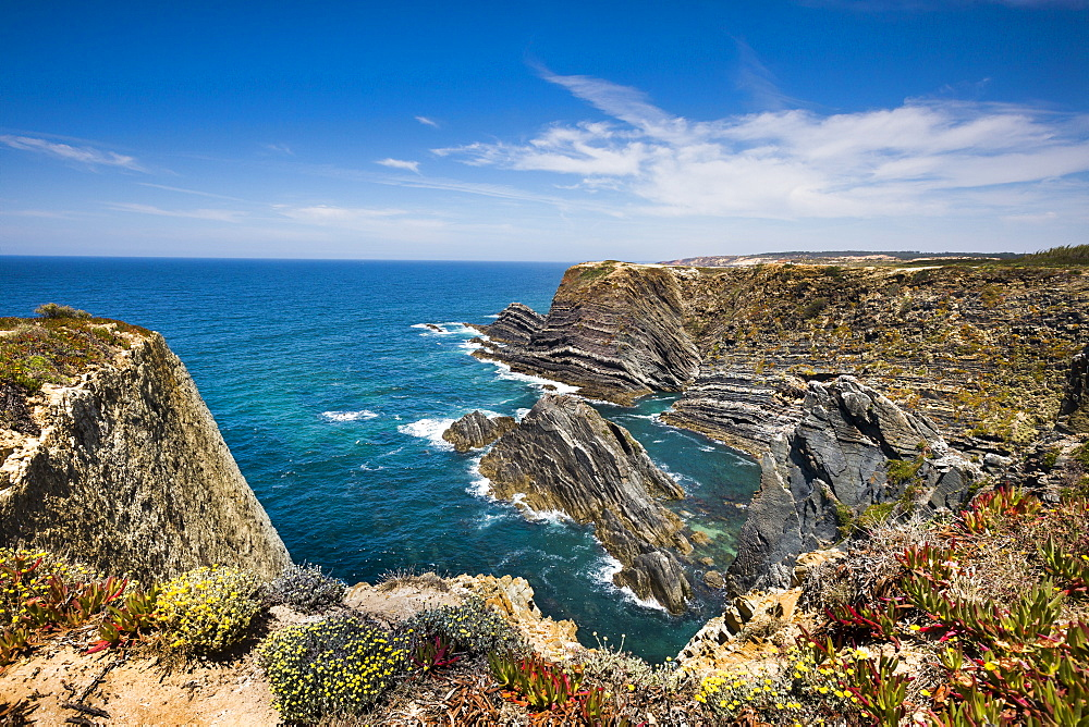 Steep rocky cliffs, Cabo Sardao, Costa Vicentina, Alentejo, Portugal