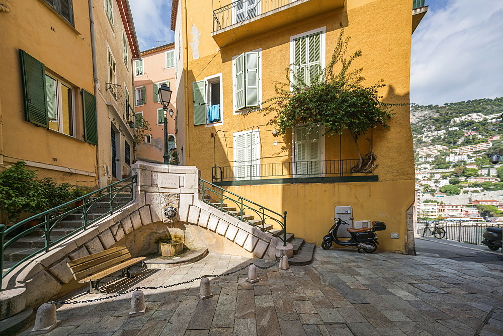 Fountain in the old city center, Villefranche sur Mer, Provence-Alpes-Cote d'Azur, France