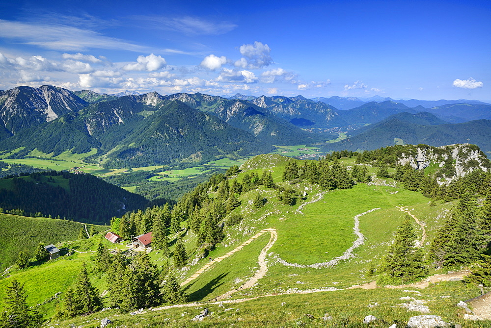 Hut Hubertushuette with Hochmiesing and Spitzing area in background, Breitenstein, Mangfall Mountains, Bavarian Prealps, Upper Bavaria, Bavaria, Germany