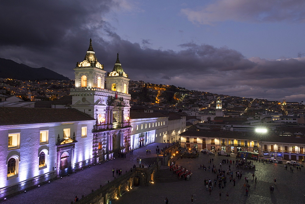 Church and Monastery of St. Francis at night, brightly illuminated, Iglesia y Convento de San Francisco, Quito, Ecuador