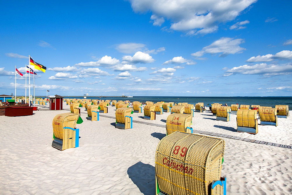 Beach with beach chairs, Groemitz, Baltic Coast, Schleswig-Holstein, Germany