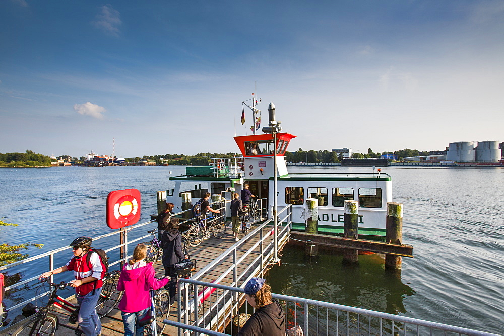 Pedestrian ferry crossing the Kiel canal, Kiel, Baltic Coast, Schleswig-Holstein, Germany