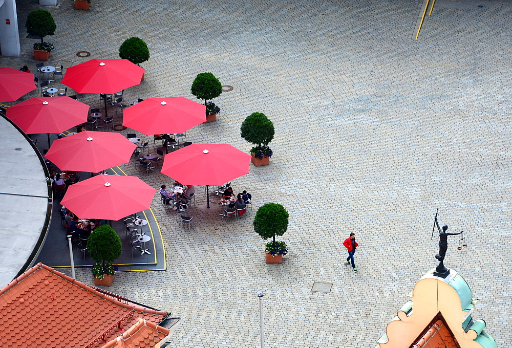 City square, view to the east from the Pfeifturm, Ingolstadt, Upper Bavaria, Bavaria, Germany