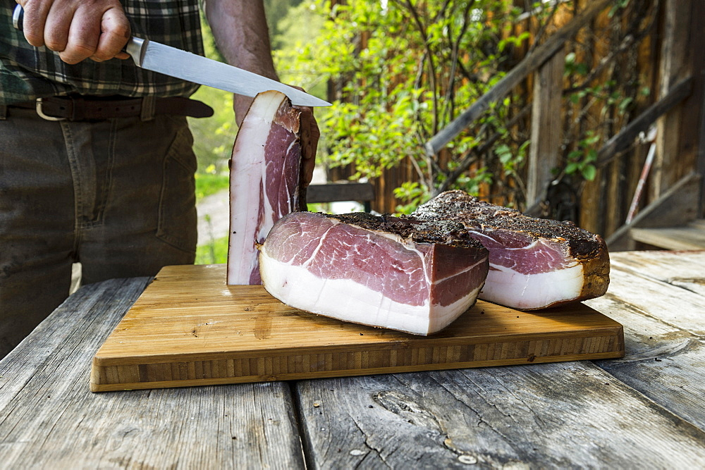 Black Forest Ham, Untermuehlbachhof, St.Georgen-Peterzell, Black Forest, Baden-Wuerttemberg, Germany - 1113-102648