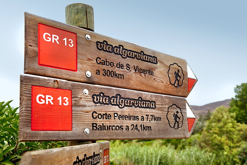 Signpost, hiking trail Via Algarvina, Algarve, Portugal