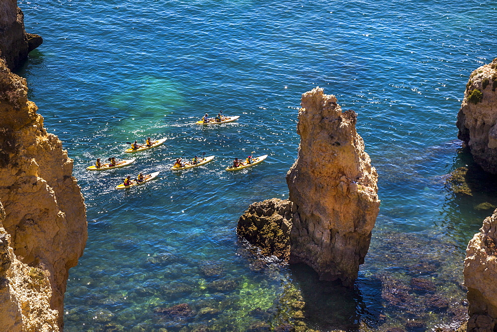Kayak trip around Ponta de Piedade, Rocky coastline, Lagos, Algarve, Portugal
